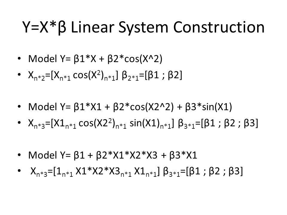 Y=X*β Linear System Construction Model Y= β1*X + β2*cos(X^2) X n*2 =[X n*1 cos(X 2 ) n*1 ] β 2*1 =[β1 ; β2] Model Y= β1*X1 + β2*cos(X2^2) + β3*sin(X1) X n*3 =[X1 n*1 cos(X2 2 ) n*1 sin(X1) n*1 ] β 3*1 =[β1 ; β2 ; β3] Model Y= β1 + β2*X1*X2*X3 + β3*X1 X n*3 =[1 n*1 X1*X2*X3 n*1 X1 n*1 ] β 3*1 =[β1 ; β2 ; β3]