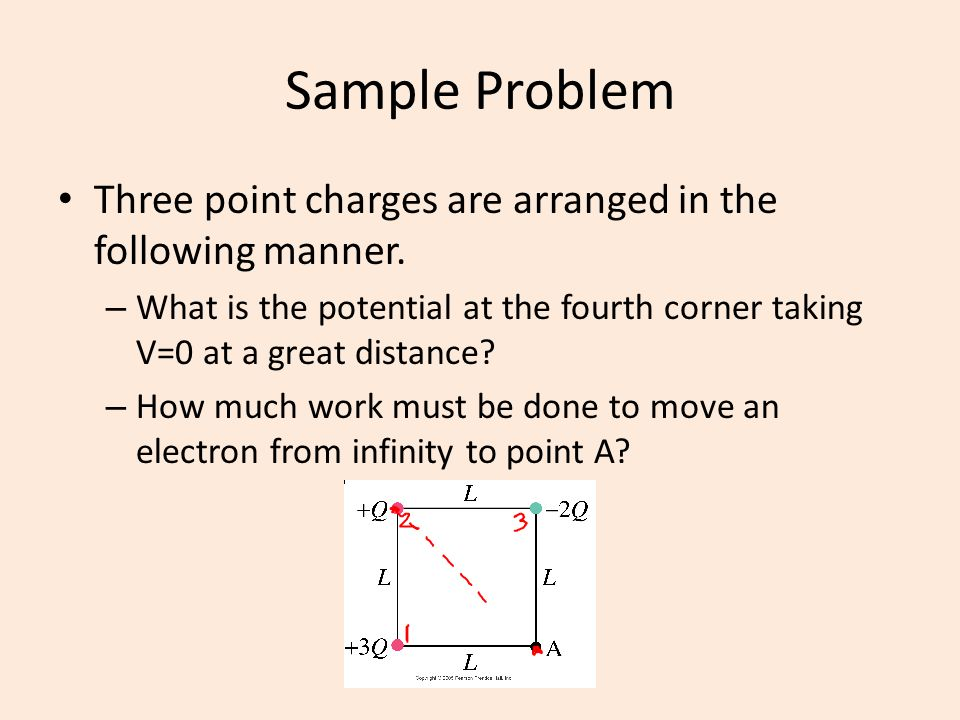 Sample Problem Three point charges are arranged in the following manner. – What is the potential at the fourth corner taking V=0 at a great distance?