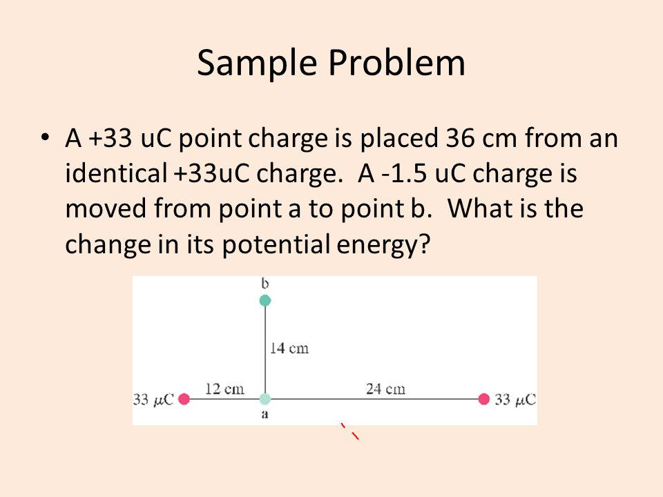 Sample Problem A +33 uC point charge is placed 36 cm from an identical +33uC charge. A -1.5 uC charge is moved from point a to point b. What is the ch