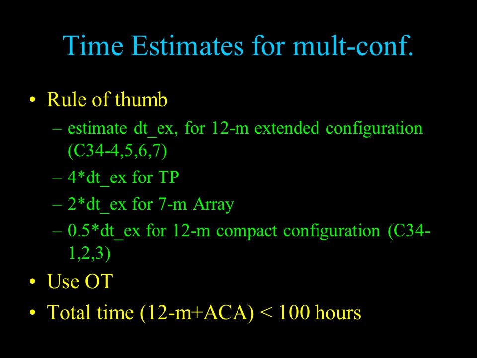 Time Estimates for mult-conf.