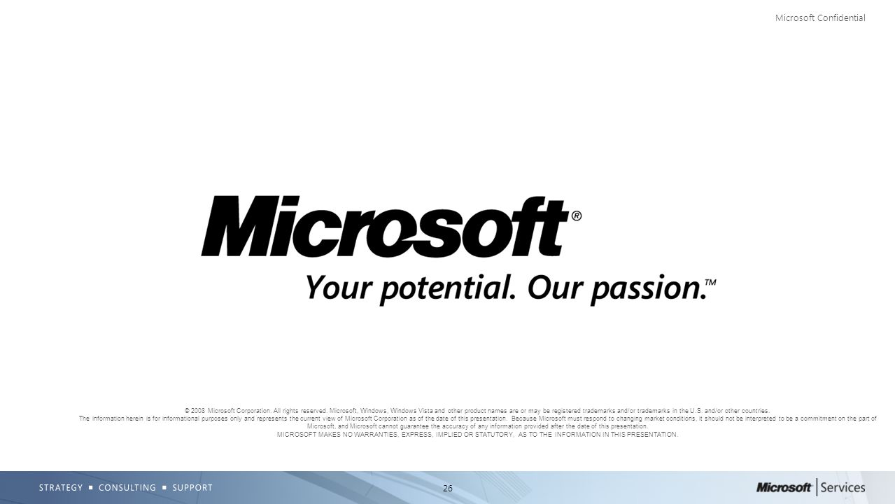 26 Microsoft Confidential © 2008 Microsoft Corporation. All rights reserved. Microsoft, Windows, Windows Vista and other product names are or may be r