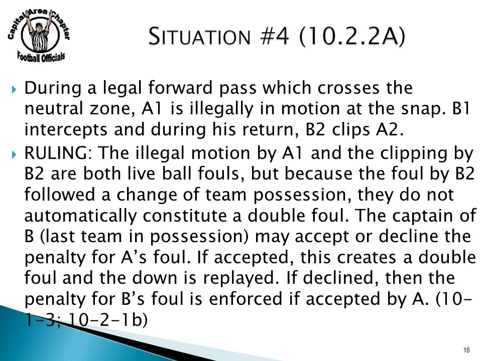  During a legal forward pass which crosses the neutral zone, A1 is illegally in motion at the snap.