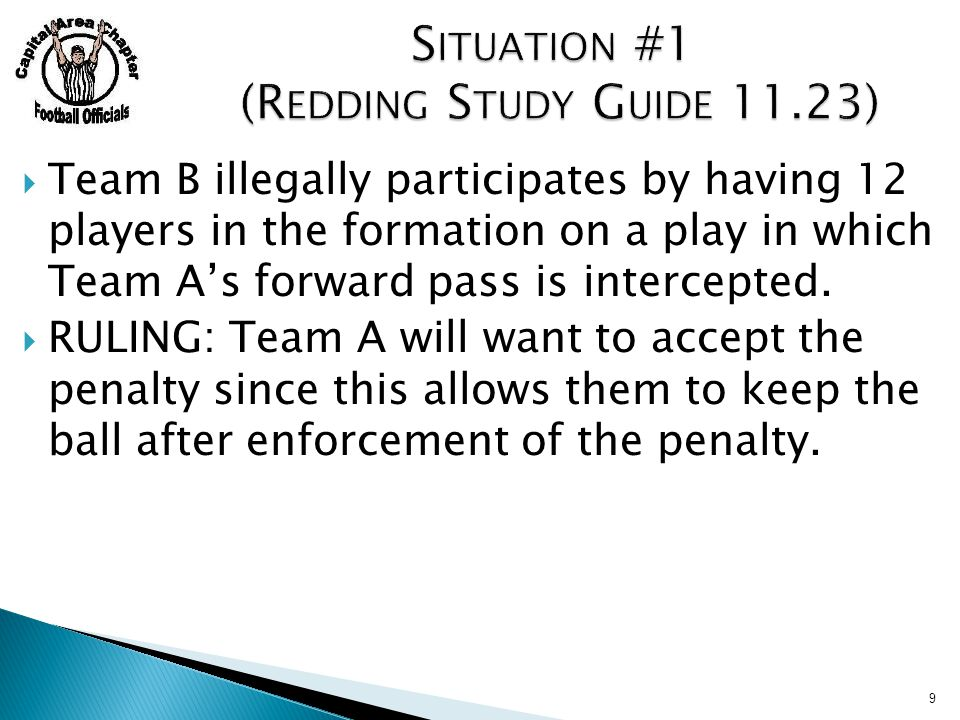  Team B illegally participates by having 12 players in the formation on a play in which Team A's forward pass is intercepted.