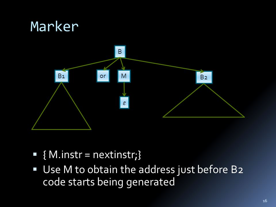 Marker  { M.instr = nextinstr;}  Use M to obtain the address just before B2 code starts being generated 16 B1 or B M B2 