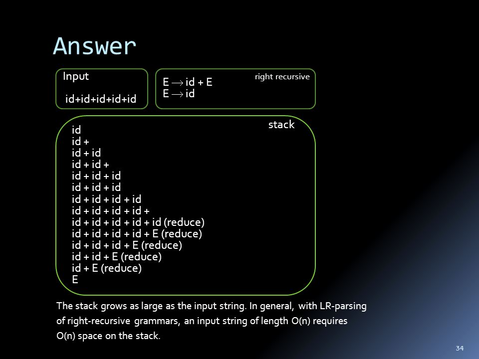 Answer The stack grows as large as the input string. In general, with LR-parsing of right-recursive grammars, an input string of length O(n) requires