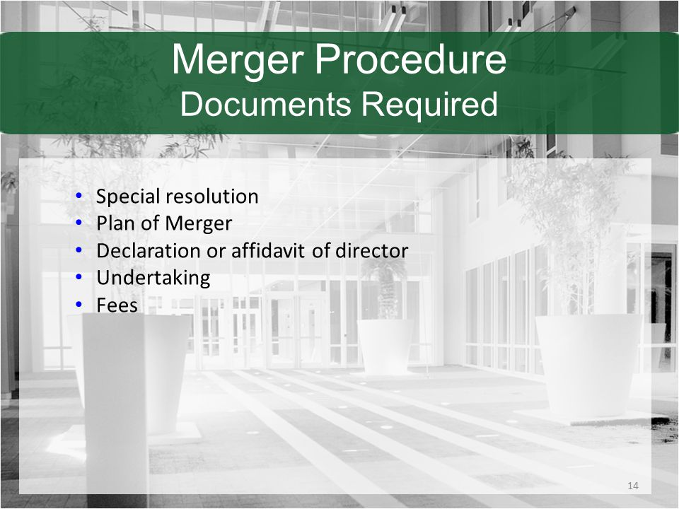 Merger Procedure Documents Required Special resolution Plan of Merger Declaration or affidavit of director Undertaking Fees 14
