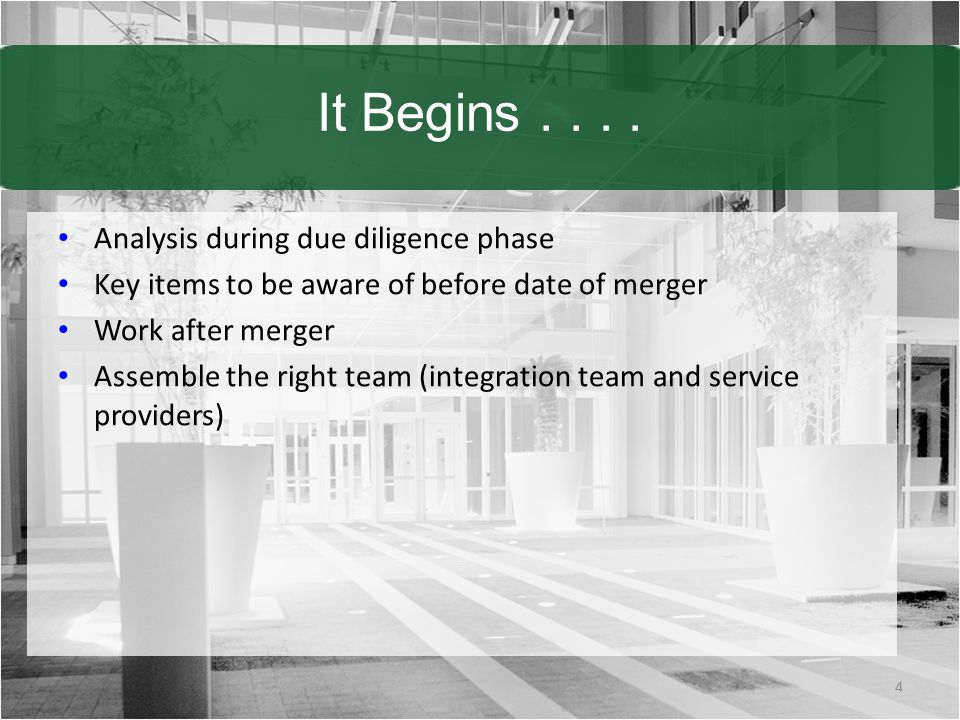 It Begins.... Analysis during due diligence phase Key items to be aware of before date of merger Work after merger Assemble the right team (integratio