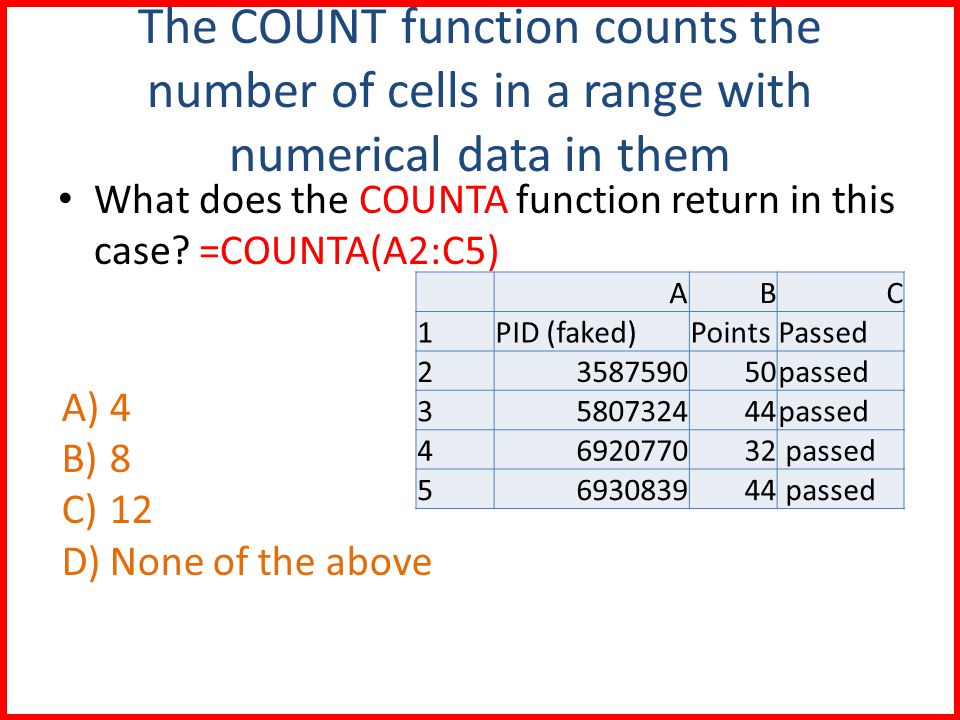 The COUNT function counts the number of cells in a range with numerical data in them What does the COUNTA function return in this case.