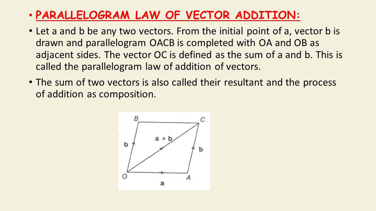 Properties of Vector Addition a + b = b + a (Commutativity) a + (b + c)= (a + b)+ c (Associativity) a+ O = a (Additive Identity) a + (— a) = 0 (Additive Inverse) (k 1 + k 2 ) a = k 1 a + k 2 a (Multiplication By Scalars) k(a + b) = k a + k b (Multiplication By Scalars)