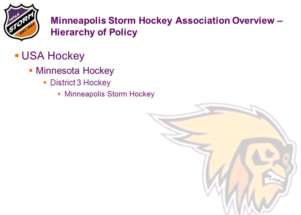 Minneapolis Storm Hockey Association Overview – Hierarchy of Policy  USA Hockey  Minnesota Hockey  District 3 Hockey  Minneapolis Storm Hockey