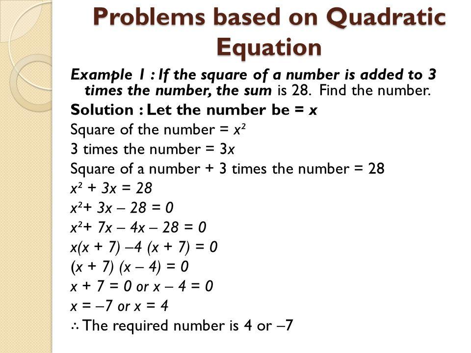 QUADRATIC EQUATIONS. - ppt video online download