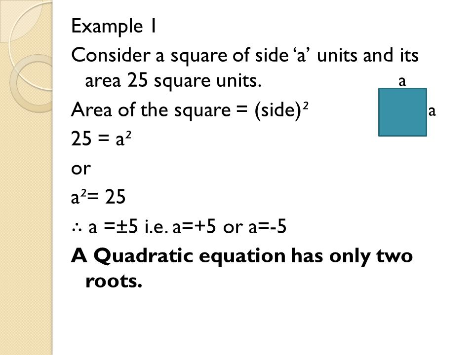 Example 1 Consider a square of side 'a' units and its area 25 square units. Area of the square = (side)² 25 = a² or a²= 25 ∴ a =±5 i.e. a=+5 or a=-5 A