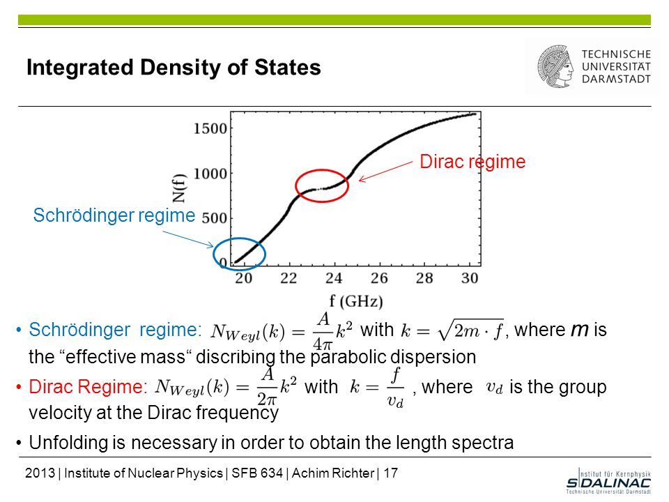 Integrated Density of States Schrödinger regime: with w, where m is the effective mass discribing the parabolic dispersion Dirac Regime: with, where is the group velocity at the Dirac frequency Unfolding is necessary in order to obtain the length spectra Schrödinger regime Dirac regime 2013 | Institute of Nuclear Physics | SFB 634 | Achim Richter | 17