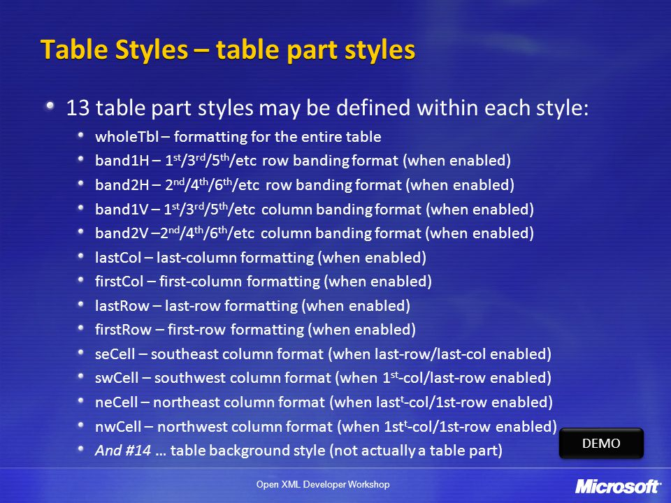 Open XML Developer Workshop Table Styles – table part styles 13 table part styles may be defined within each style: wholeTbl – formatting for the entire table band1H – 1 st /3 rd /5 th /etc row banding format (when enabled) band2H – 2 nd /4 th /6 th /etc row banding format (when enabled) band1V – 1 st /3 rd /5 th /etc column banding format (when enabled) band2V –2 nd /4 th /6 th /etc column banding format (when enabled) lastCol – last-column formatting (when enabled) firstCol – first-column formatting (when enabled) lastRow – last-row formatting (when enabled) firstRow – first-row formatting (when enabled) seCell – southeast column format (when last-row/last-col enabled) swCell – southwest column format (when 1 st -col/last-row enabled) neCell – northeast column format (when last t -col/1st-row enabled) nwCell – northwest column format (when 1st t -col/1st-row enabled) And #14 … table background style (not actually a table part) DEMO