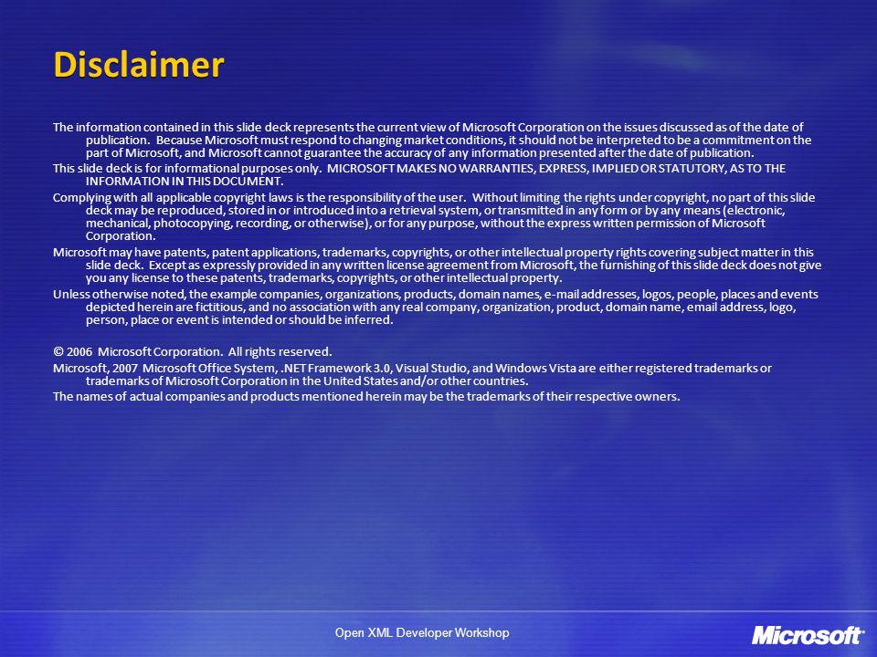 Open XML Developer Workshop Table Definition: Content DEMO...