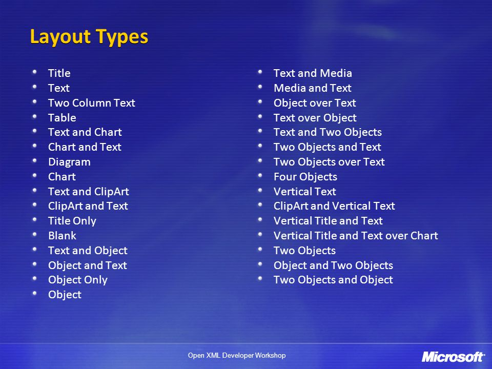 Open XML Developer Workshop Layout Types Title Text Two Column Text Table Text and Chart Chart and Text Diagram Chart Text and ClipArt ClipArt and Text Title Only Blank Text and Object Object and Text Object Only Object Text and Media Media and Text Object over Text Text over Object Text and Two Objects Two Objects and Text Two Objects over Text Four Objects Vertical Text ClipArt and Vertical Text Vertical Title and Text Vertical Title and Text over Chart Two Objects Object and Two Objects Two Objects and Object