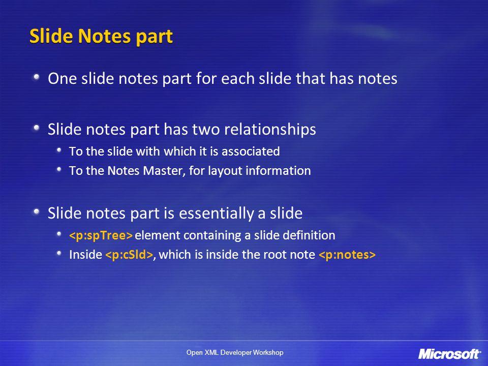 Open XML Developer Workshop Slide Notes part One slide notes part for each slide that has notes Slide notes part has two relationships To the slide wi