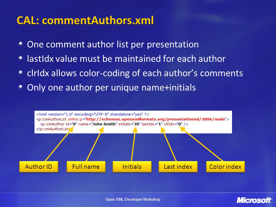 Open XML Developer Workshop CAL: commentAuthors.xml One comment author list per presentation lastIdx value must be maintained for each author clrIdx allows color-coding of each author's comments Only one author per unique name+initials Author ID Full name Initials Last index Color index
