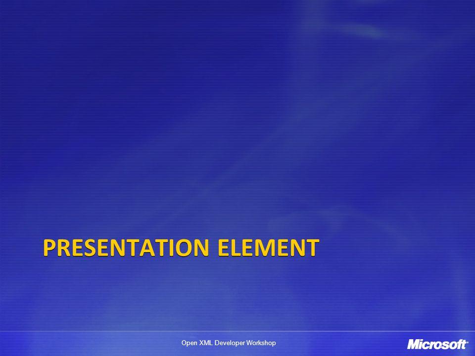 Open XML Developer Workshop Presentation Element Start part: presentation.xml Relationships part: presentation.xml.rels DEMO Sizing info Slides Slide Masters Notes Masters Handout Masters