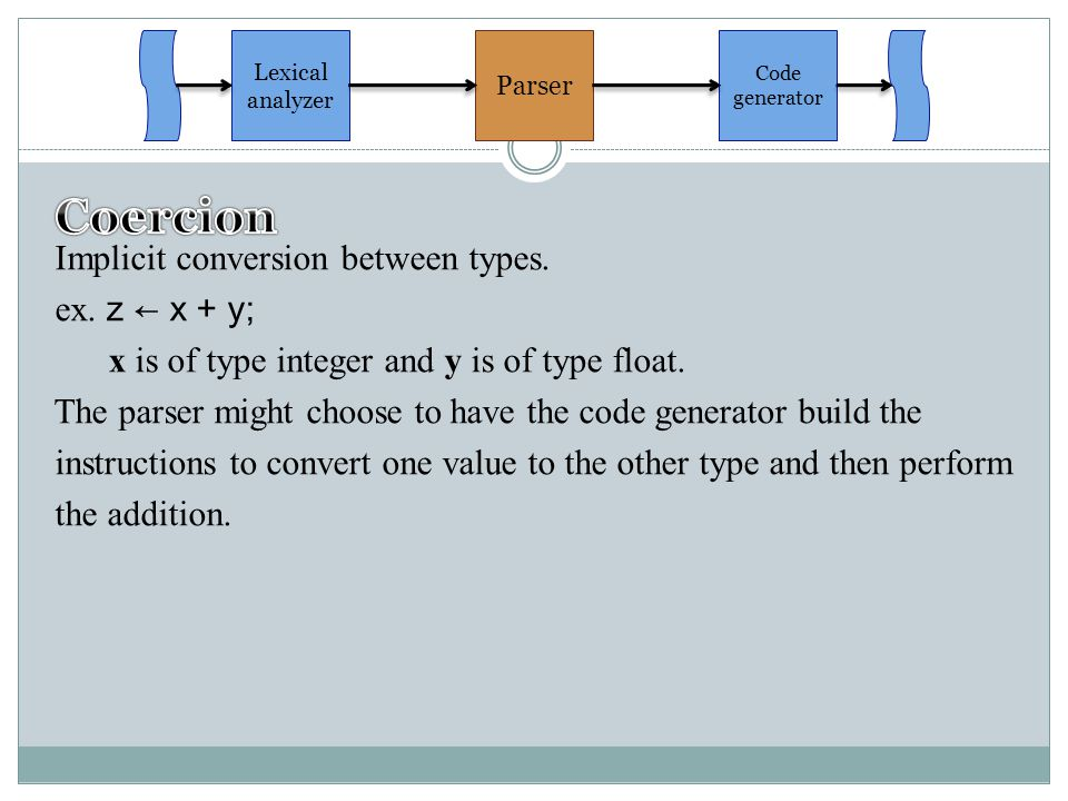 Implicit conversion between types.ex. z ← x + y; x is of type integer and y is of type float.