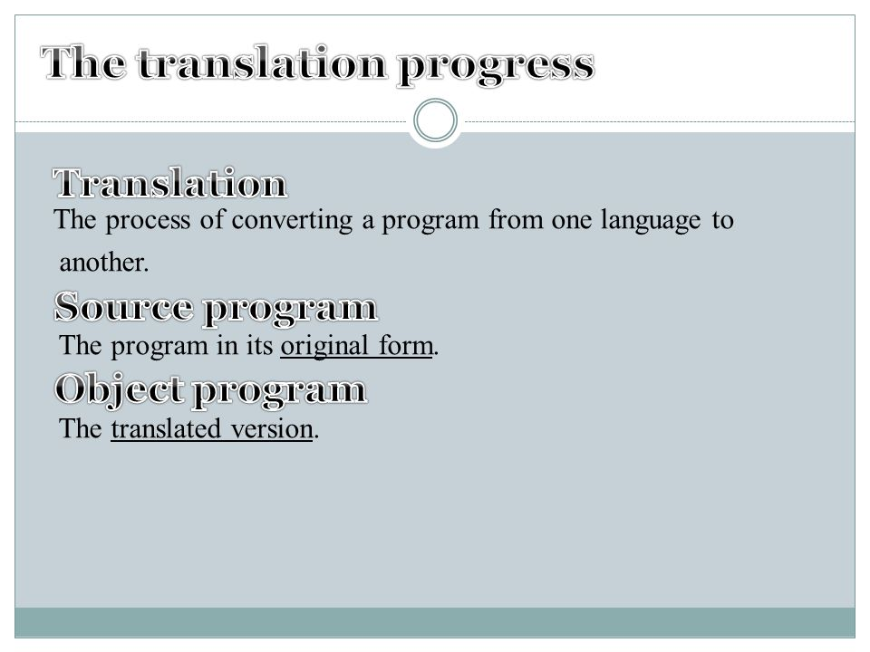 The process of converting a program from one language to another.