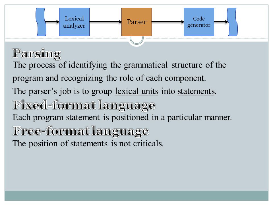 The process of identifying the grammatical structure of the program and recognizing the role of each component. The parser's job is to group lexical u