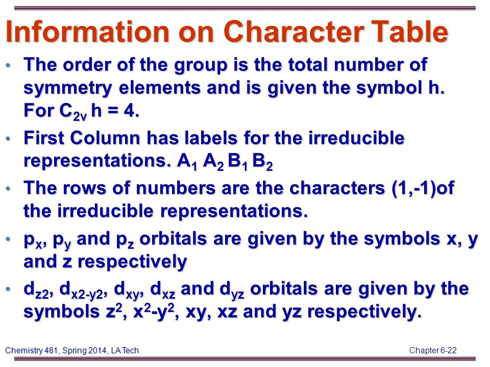 Chapter 6-22 Chemistry 481, Spring 2014, LA Tech Information on Character Table The order of the group is the total number of symmetry elements and is given the symbol h.