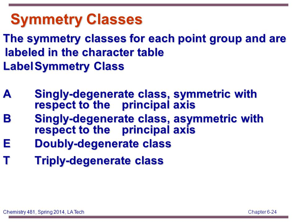 Chapter 6-24 Chemistry 481, Spring 2014, LA Tech Symmetry Classes The symmetry classes for each point group and are labeled in the character table LabelSymmetry Class ASingly-degenerate class, symmetric with respect to the principal axis BSingly-degenerate class, asymmetric with respect to the principal axis EDoubly-degenerate class TTriply-degenerate class