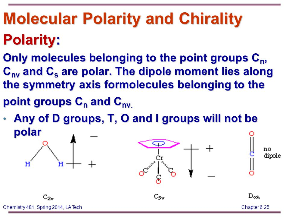 Chapter 6-25 Chemistry 481, Spring 2014, LA Tech Molecular Polarity and Chirality Polarity: Only molecules belonging to the point groups C n, C nv and C s are polar.
