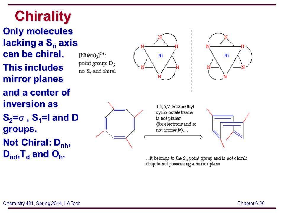 Chapter 6-26 Chemistry 481, Spring 2014, LA Tech Chirality Only molecules lacking a S n axis can be chiral.