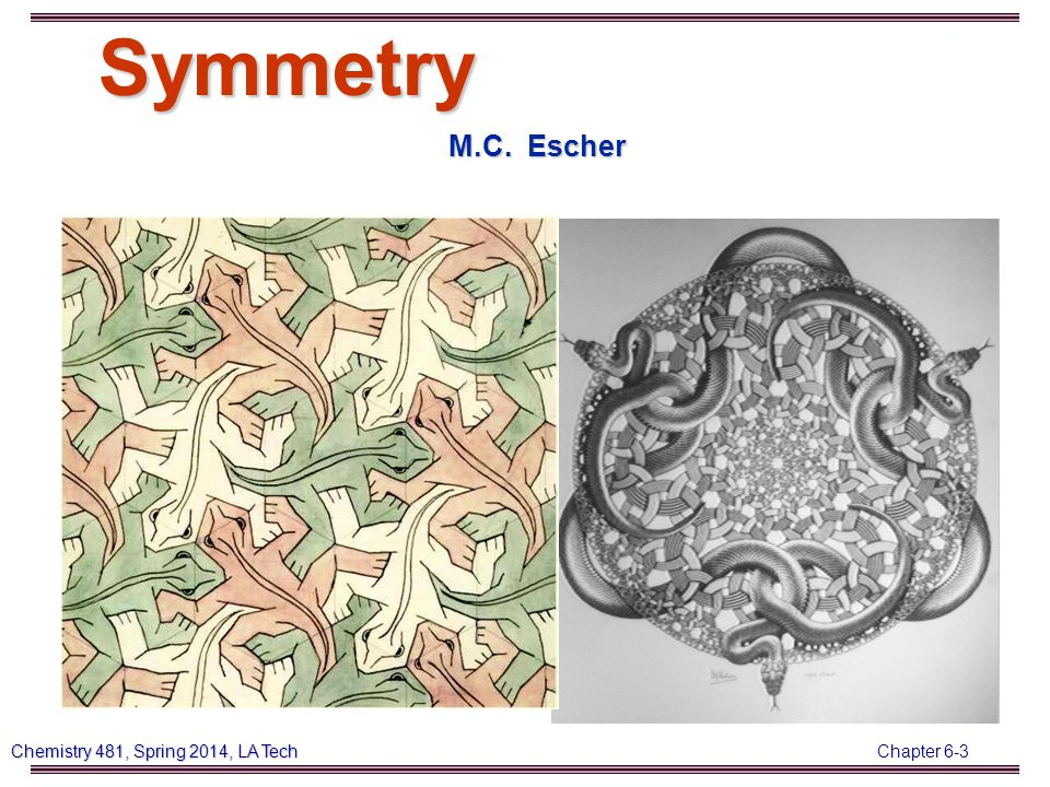 Chapter 6-14 Chemistry 481, Spring 2014, LA Tech 3) Draw and identify the symmetry elements in: a) NH 3 : b) H 2 O: c) CO 2 : d) CH 4 : e) BF 3 :