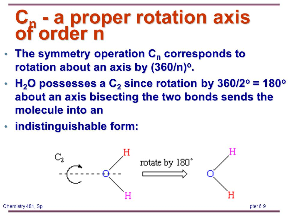 Chapter 6-50 Chemistry 481, Spring 2014, LA Tech CH 4 (T d ) Td E 8C3 3C2 6S4 6  d 15 0 -1 -1 3   3N 15 0 -1 -1 3 Reduction formula  3N = A1 + E + T1 + 3T2  T+R (from character table) = T1 + T2,  vib = A1 + E + 2T2 (each E mode is in fact two vibrations (doubly degenerate), and each T2 three vibrations (triply degenerate)