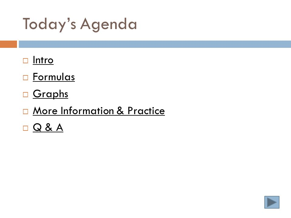Today's Agenda  Intro Intro  Formulas Formulas  Graphs Graphs  More Information & Practice More Information & Practice  Q & A Q & A