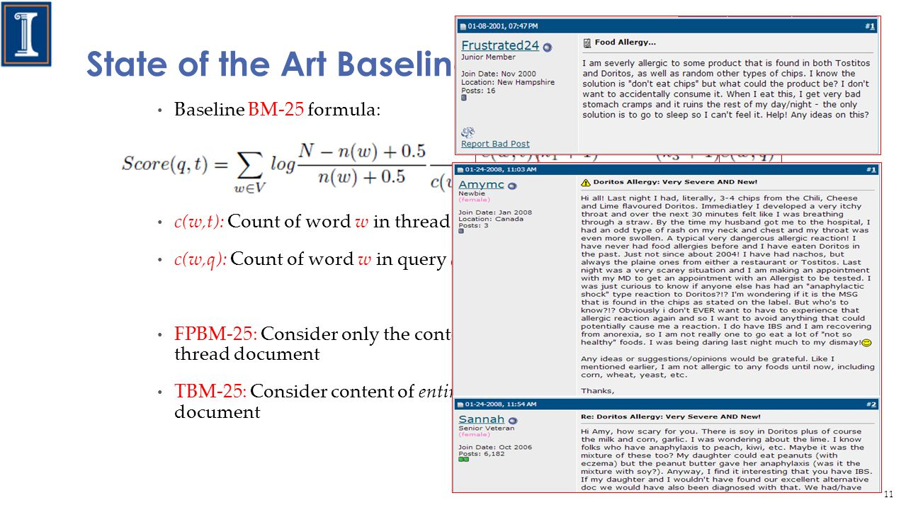 State of the Art Baseline Baseline BM-25 formula: c(w,t): Count of word w in thread t c(w,q): Count of word w in query q FPBM-25: Consider only the content of first post to represent the thread document TBM-25: Consider content of entire thread to represent the thread document 11