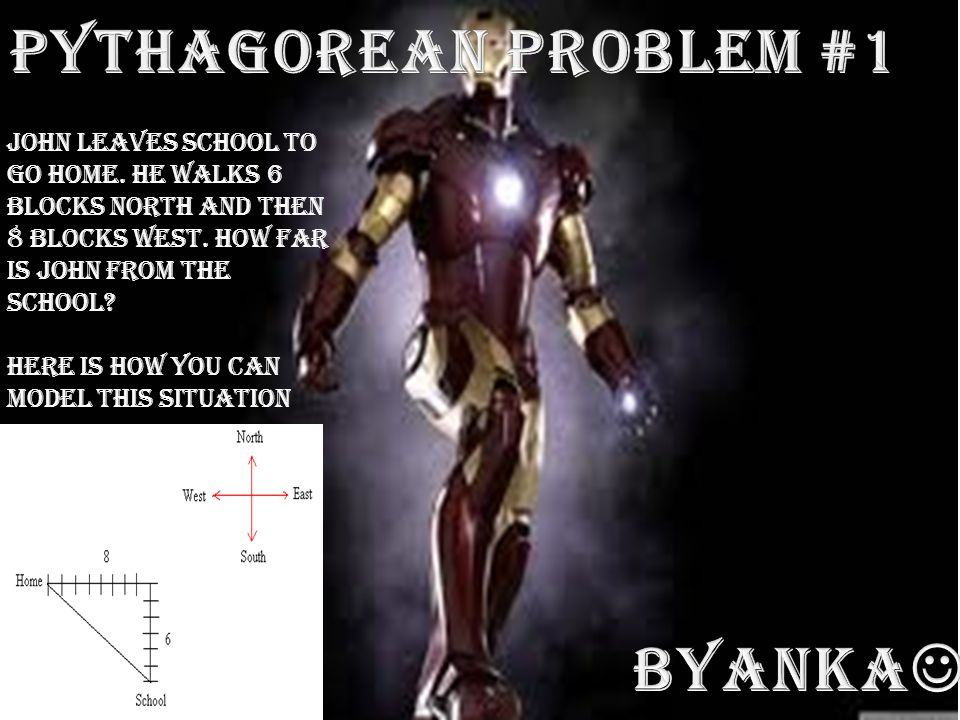 The distance from school to home is the length of the hypotenuse.
