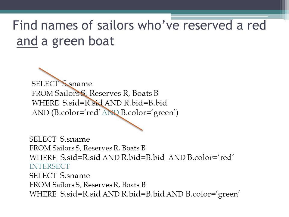Find names of sailors who've reserved a red and a green boat SELECT S.sname FROM Sailors S, Reserves R, Boats B WHERE S.sid=R.sid AND R.bid=B.bid AND
