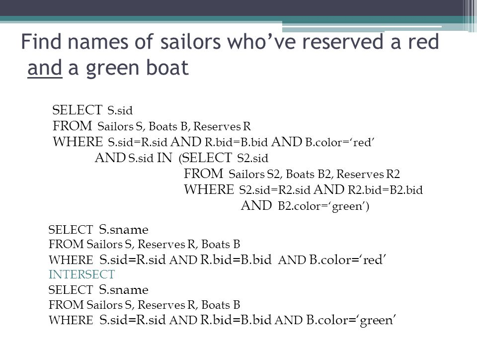 Find names of sailors who've reserved a red and a green boat SELECT S.sid FROM Sailors S, Boats B, Reserves R WHERE S.sid=R.sid AND R.bid=B.bid AND B.