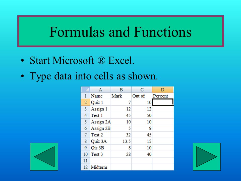 Formulas and Functions Start Microsoft ® Excel. Type data into cells as shown.