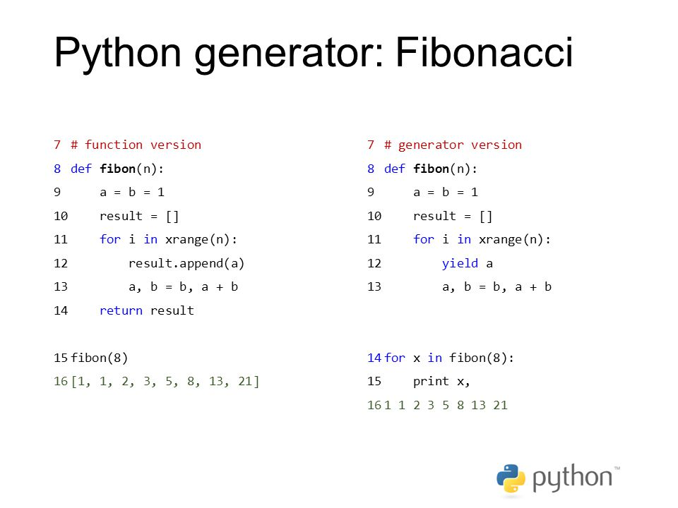 Python generator: Fibonacci 7# function version 8def fibon(n): 9 a = b = 1 10 result = [] 11 for i in xrange(n): 12 result.append(a) 13 a, b = b, a +