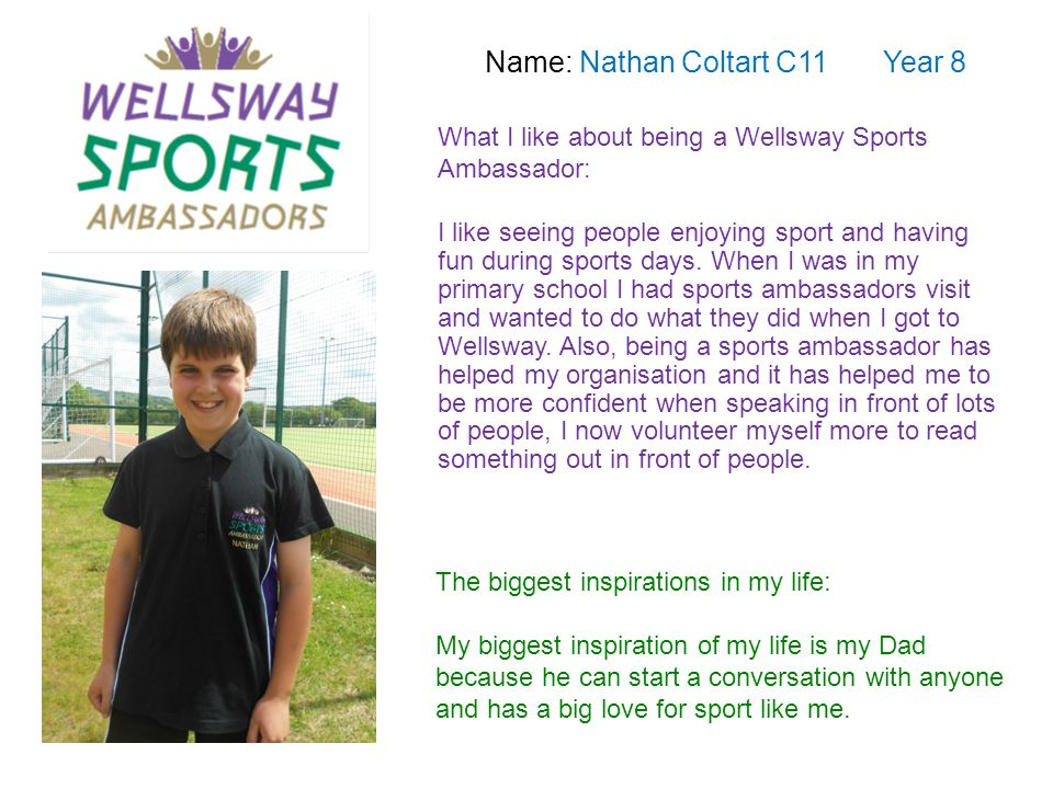Name: Amy Dixon N11 Year 10 What I like about being a Wellsway Sports Ambassador: I enjoy being a sports ambassador for Wellsway because we get to participate in lots of different sports activities.