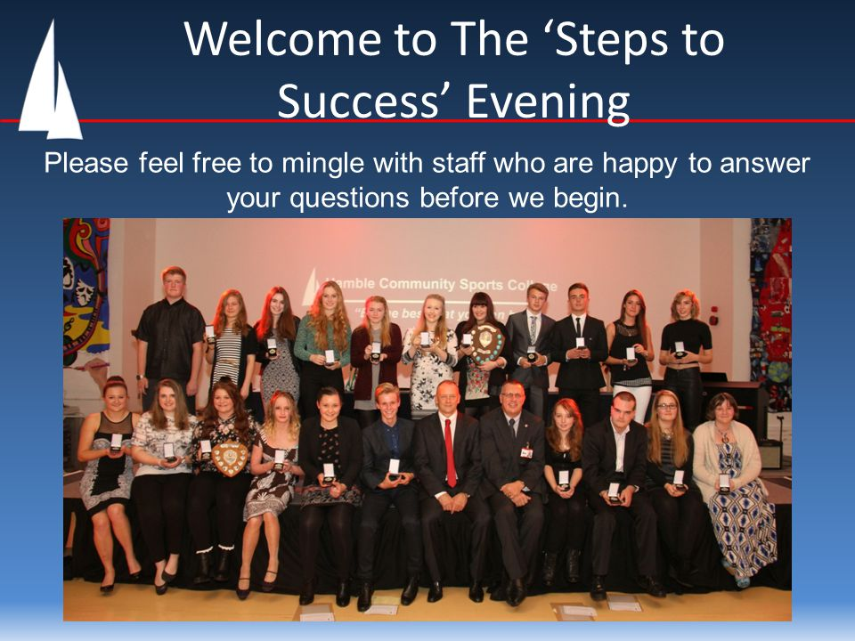 Welcome to The 'Steps to Success' Evening Please feel free to mingle with staff who are happy to answer your questions before we begin.