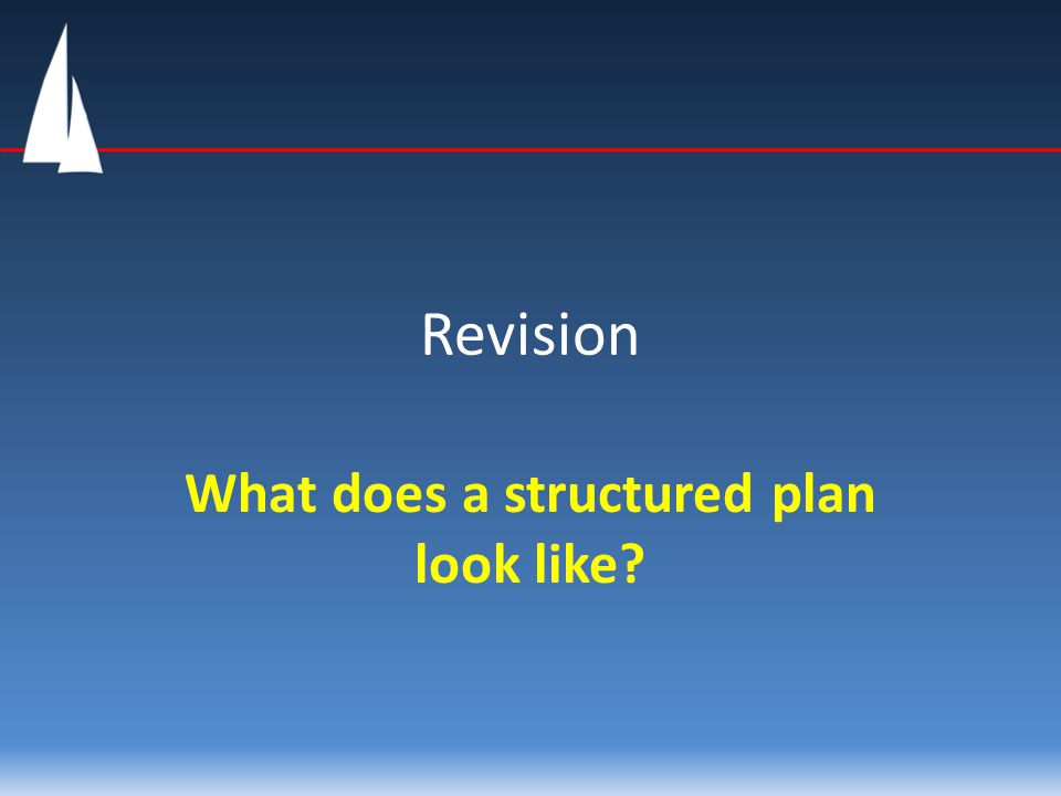 Revision What does a structured plan look like?