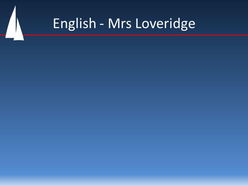 English - Mrs Loveridge