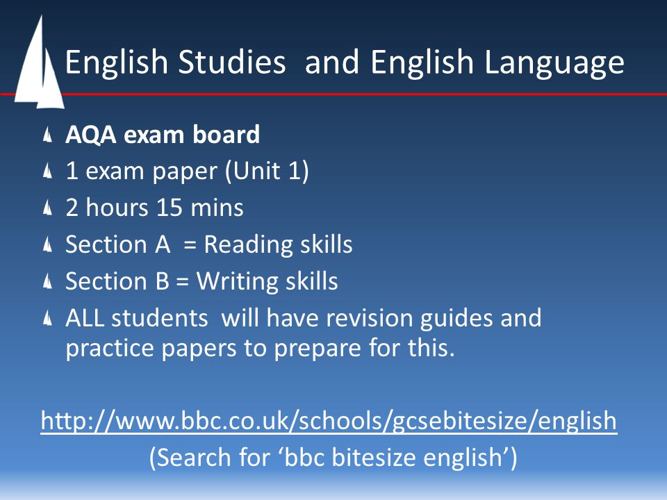 English Studies and English Language AQA exam board 1 exam paper (Unit 1) 2 hours 15 mins Section A = Reading skills Section B = Writing skills ALL st