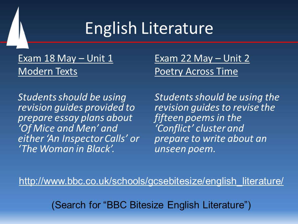 English Literature Exam 18 May – Unit 1 Modern Texts Students should be using revision guides provided to prepare essay plans about 'Of Mice and Men'