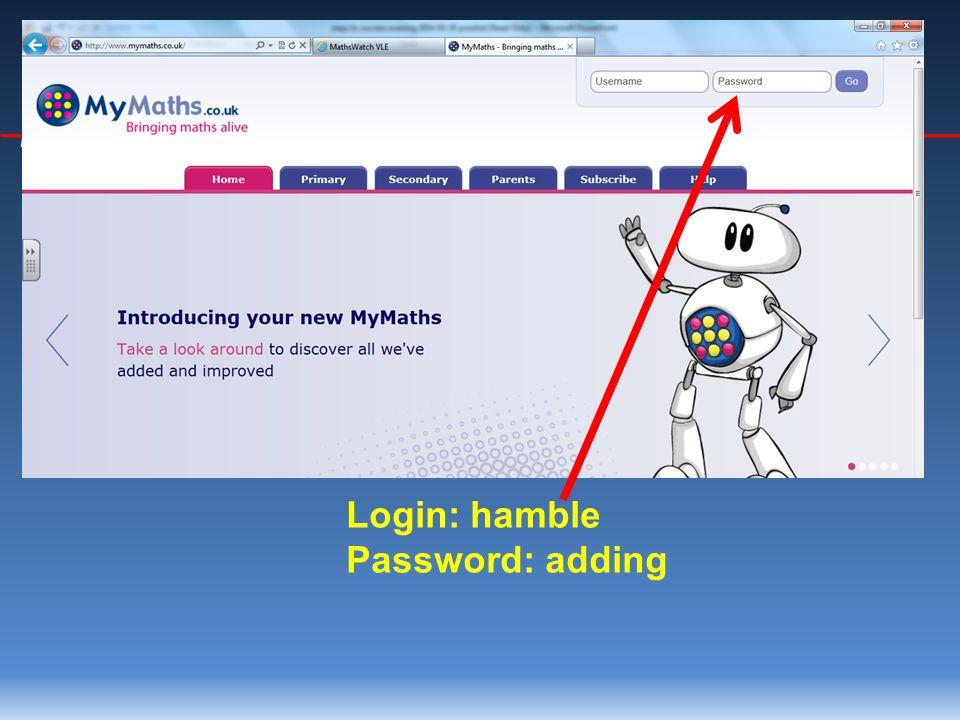 Login: hamble Password: adding