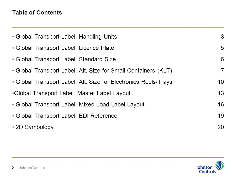 Table of Contents Global Transport Label: Handling Units Global Transport Label: Licence Plate Global Transport Label: Standard Size Global Transport