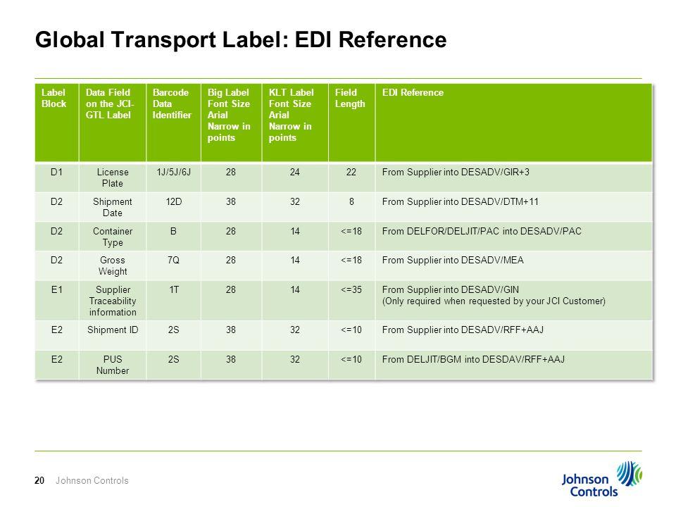 Johnson Controls20 Global Transport Label: EDI Reference