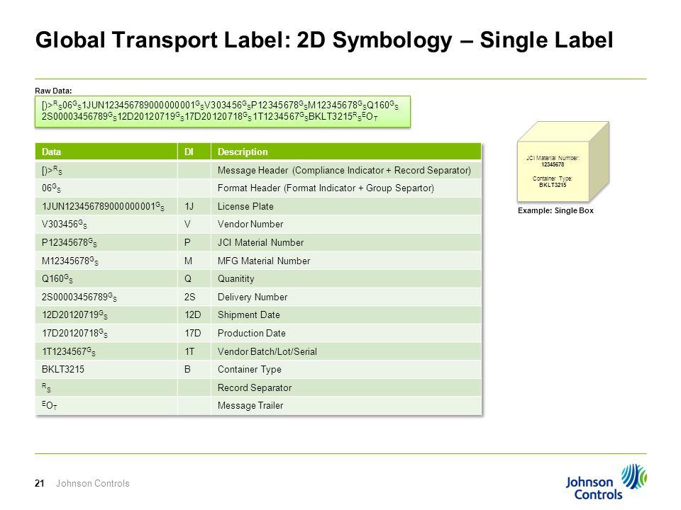 Johnson Controls21 Global Transport Label: 2D Symbology – Single Label [)> R S 06 G S 1JUN123456789000000001 G S V303456 G S P12345678 G S M12345678 G