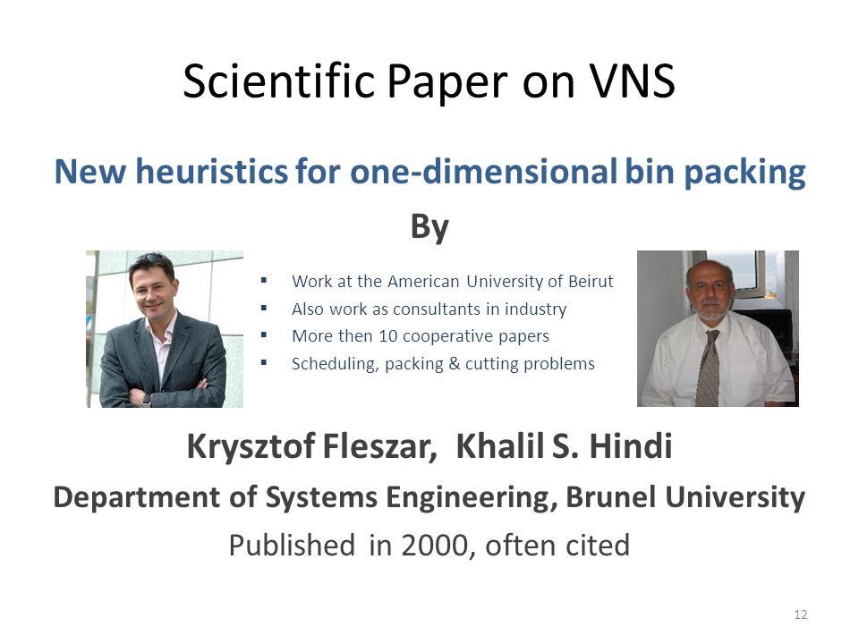 Scientific Paper on VNS New heuristics for one-dimensional bin packing By Krysztof Fleszar, Khalil S.